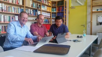 Dr. Angeles-Boza with Dr. Johannes Barth and Dr. Julien Bachmann