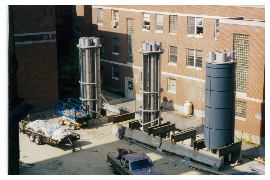 smokestacks before being raised on to roof
