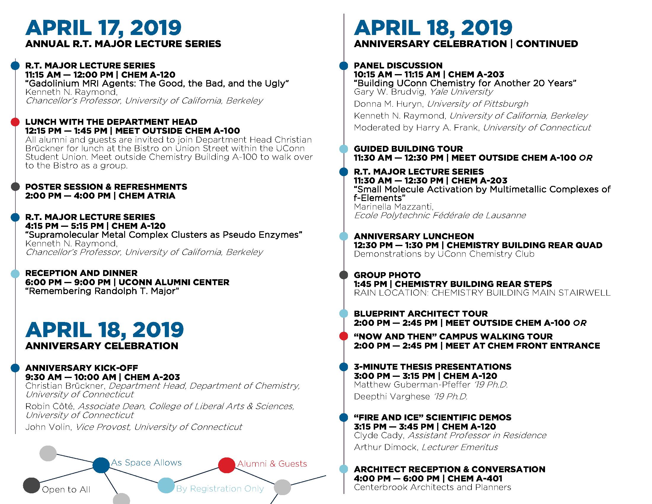 2019 Anniversary & R.T. Major Schedule