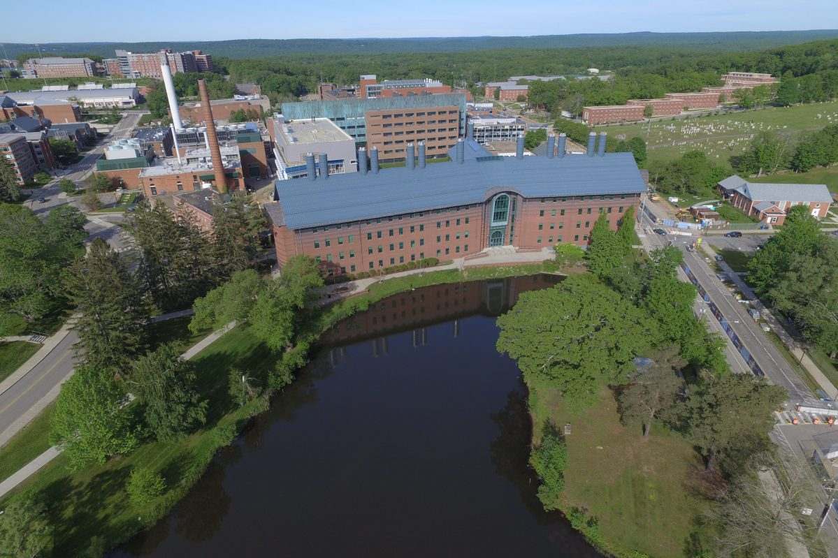 Aerial photo of Swan Lake and Chemistry Building