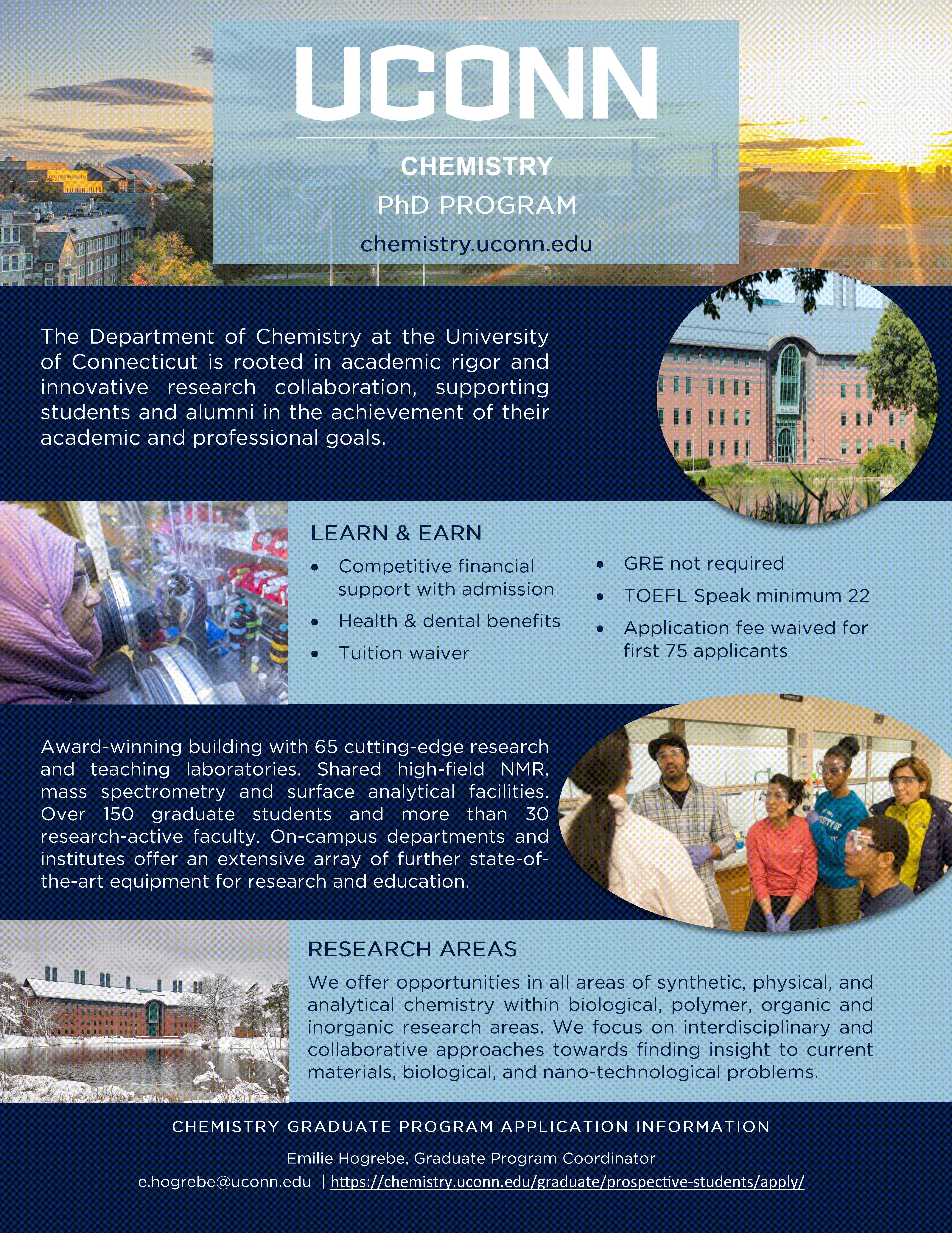 UConn Chemistry PhD program flyer