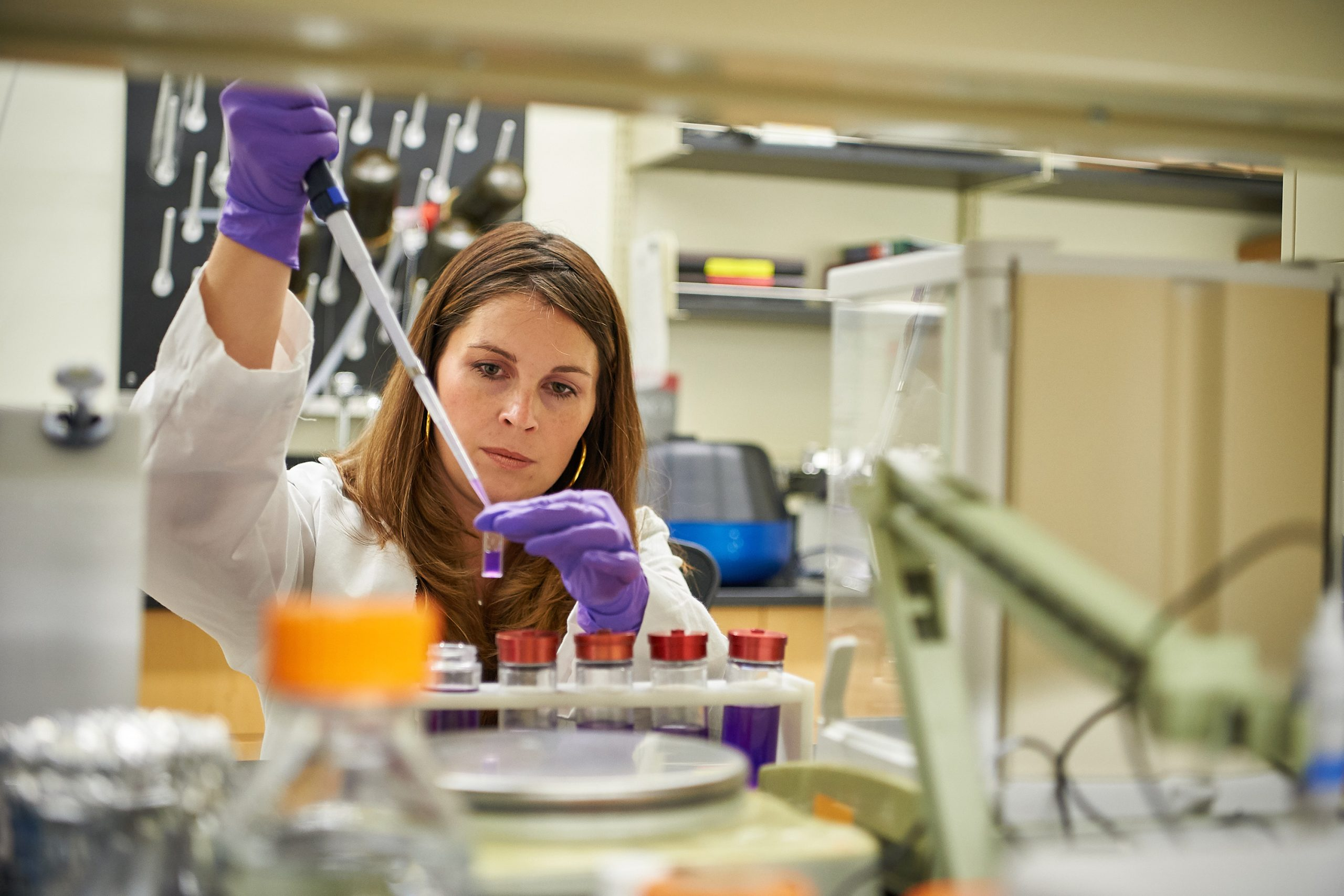 Nicole Wagner, CEO of UConn TIP company LambdaVision, works in the lab at the Cell and Genome Sciences Building in Farmington