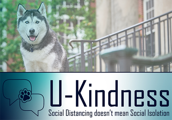 Photo of mascot linking to U-Kindness resource site